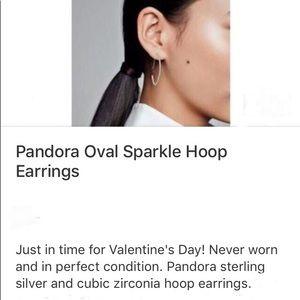 Pandora Oval Sparkle Hoop Earrings